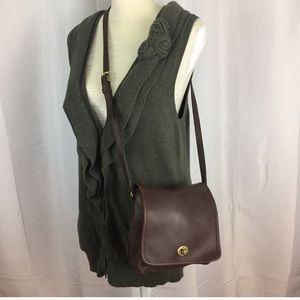 Vintage Coach brown leather companion crossbody